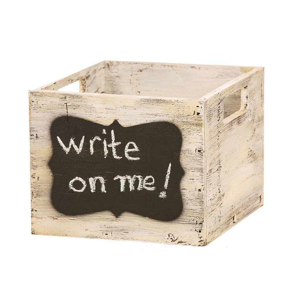10 in. Whitewashed Wooden Chalkboard Box-0115 - The Home Depot