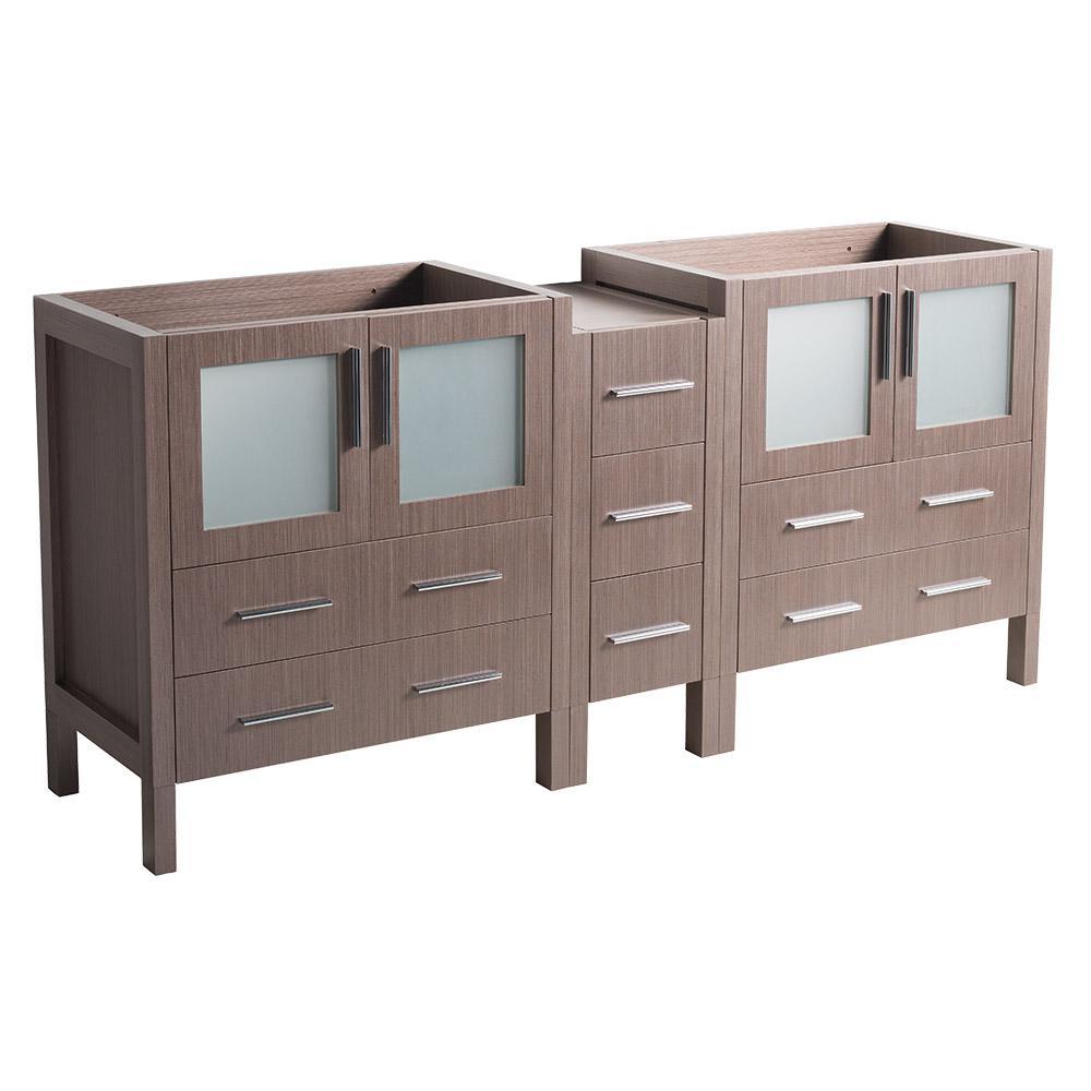 Torino Modern Double Bathroom Vanity Cabinet In Gray Oak