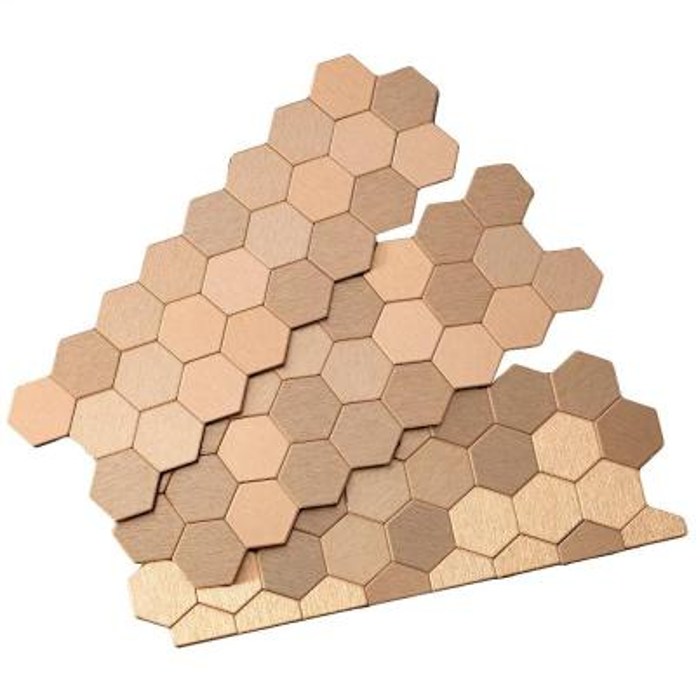 Honeycomb Matted 12 in. x 4 in. Brushed Champagne Metal Decorative Tile Backsplash (1 sq. ft.)