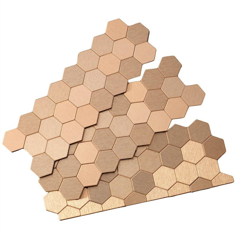 Aspect Honeycomb Matted 12 in. x 4 in. Metal Decorative Tile Backsplash in Brushed Champagne (1 sq. ft.)