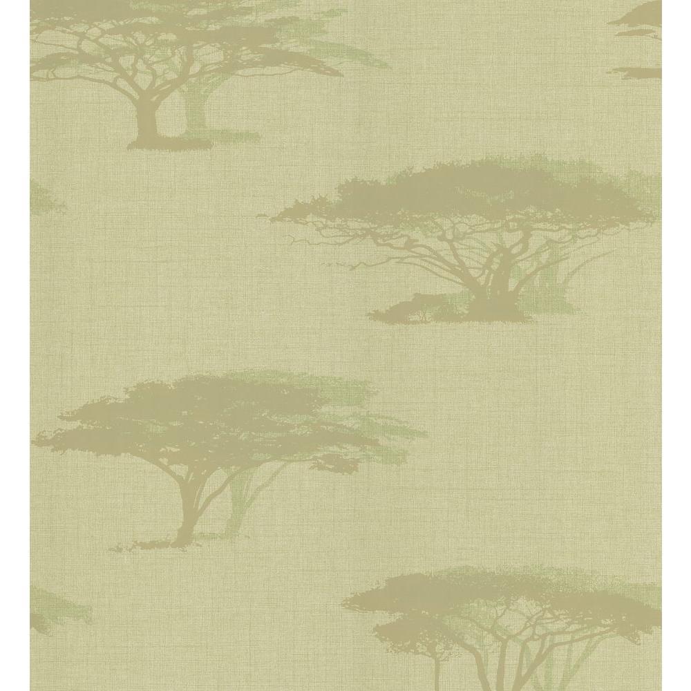 Light Green Serengeti Tree Wallpaper Sample