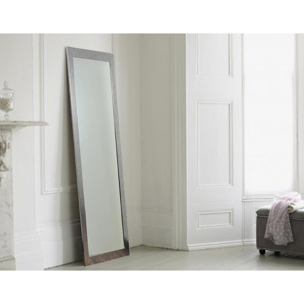Modern Silver Grain Full Length Framed Mirror