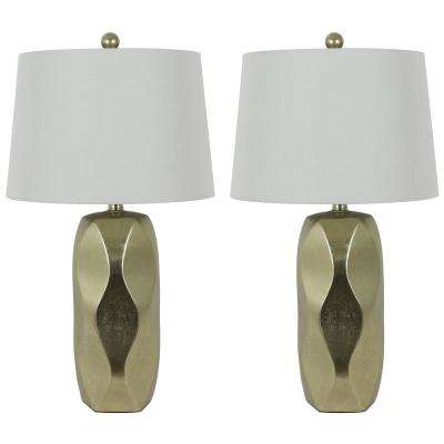 Liam 25 in. Sculpted Ceramic Silver Table Lamp with Shade (Set of 2)
