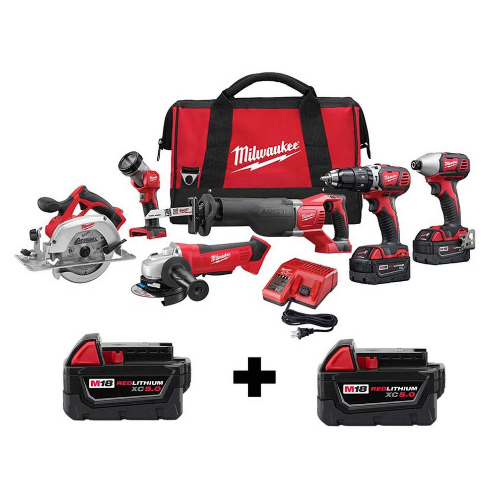 Milwaukee M18 18-Volt Lithium-Ion Cordless Combo Tool Kit (6-Tool) with Two Free 5.0 Ah Batteries