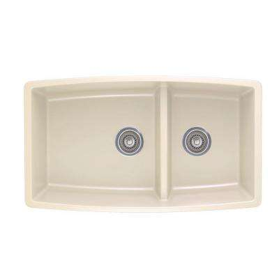 Performa Undermount Granite Composite 33 in. 0-Hole Double Bowl Kitchen Sink in Biscuit