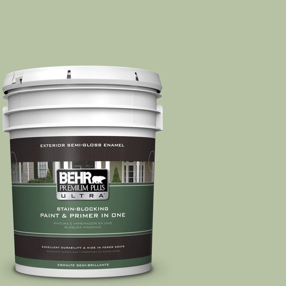 BEHR Premium Plus Ultra 5-gal. #M380-4 Chopped Dill Semi-Gloss Enamel Exterior Paint