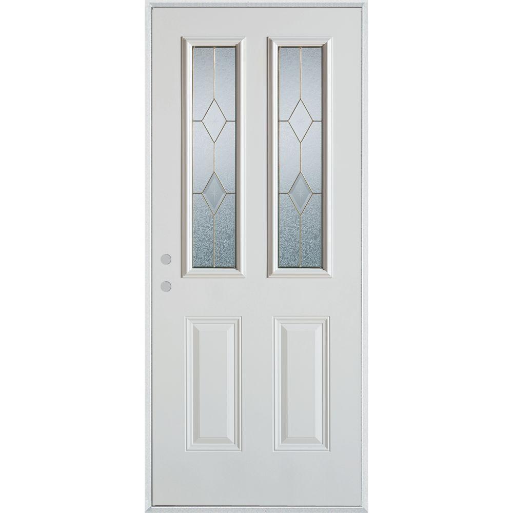 Stanley Doors 37.375 in. x 82.375 in. Geometric Brass 2 Lite 2-Panel Painted White Right-Hand Inswing Steel Prehung Front Door