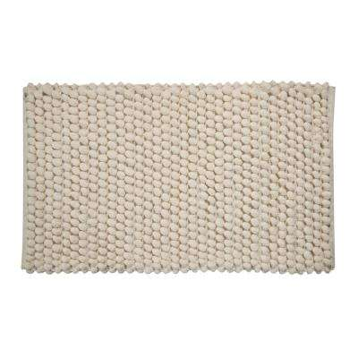 Bubbles Pattern 50 in. x 30 in. Cotton and Microfiber Ivory Latex Spray Non-Skid Backing Bath Rug