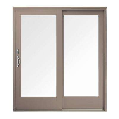 71 in. x 80 in. 400 Series Frenchwood Sandtone  Right-Hand Sliding Patio Door, Oak Interior, Low-E SmartSun Glass