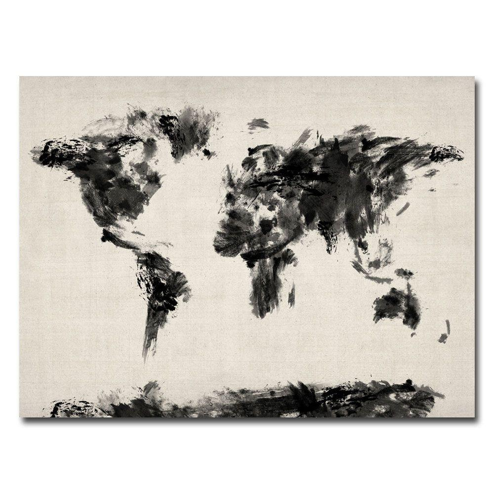 Abstract Map Of The World.18 In X 24 In Abstract Map Of The World Canvas Art Mt0126 C1824gg