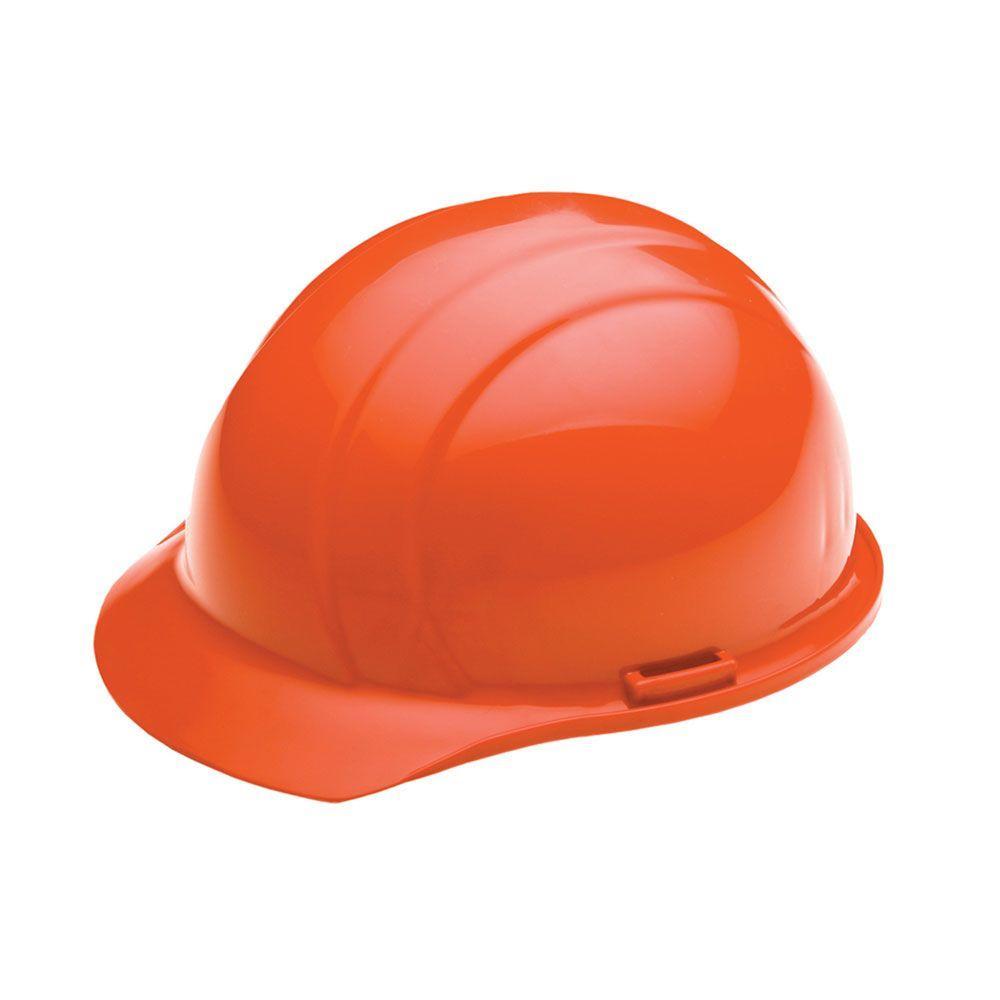 4 Point Nylon Suspension Mega Ratchet Cap Hard Hat in Hi Viz Orange