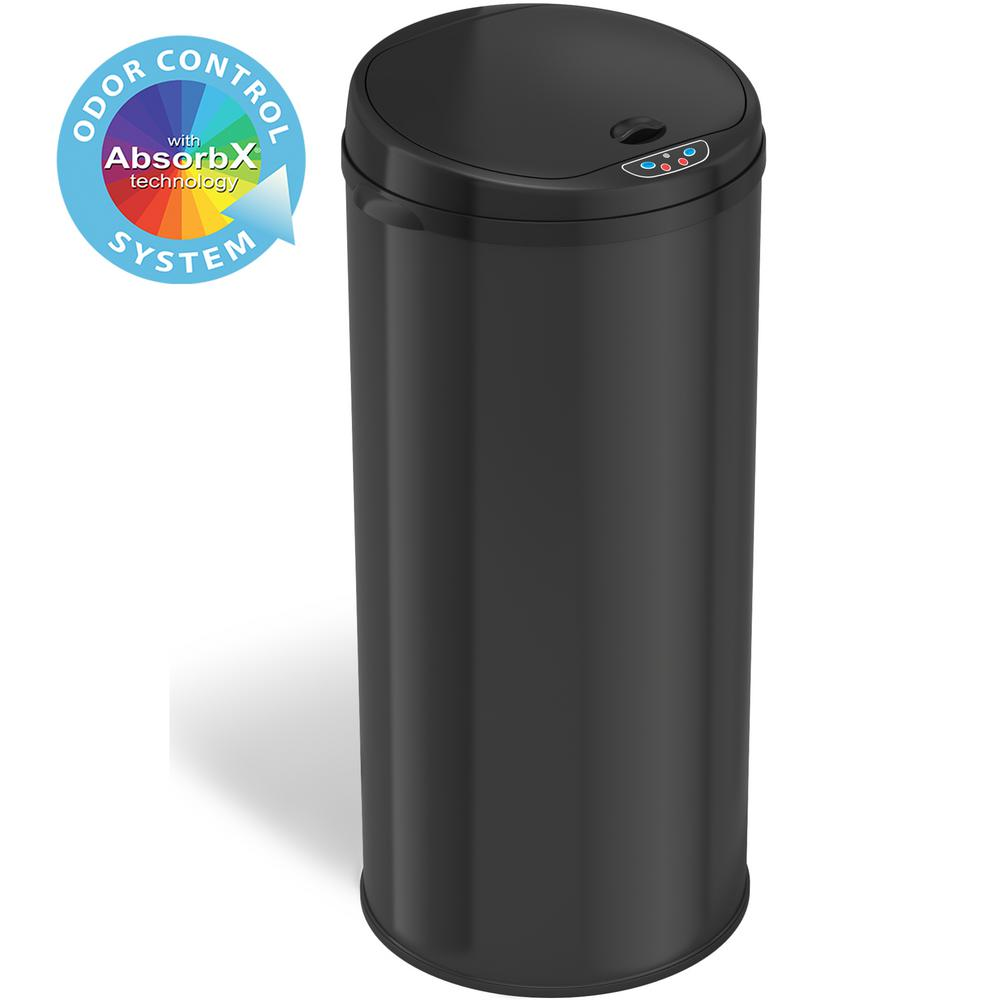 iTouchless 13 Gal. Matte Black Touchless Round Motion Sensing Trash Can with Odor Filter