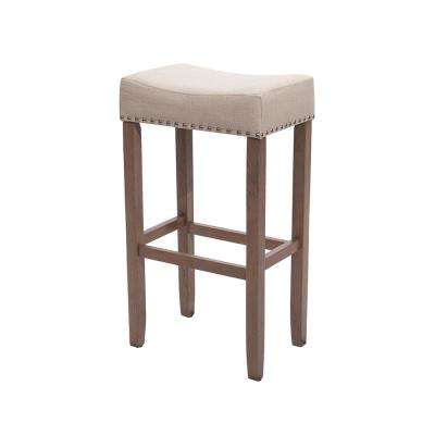 Hylie Nailhead 29 in. Light Brown and Pale Beige Cushioned Bar Stool
