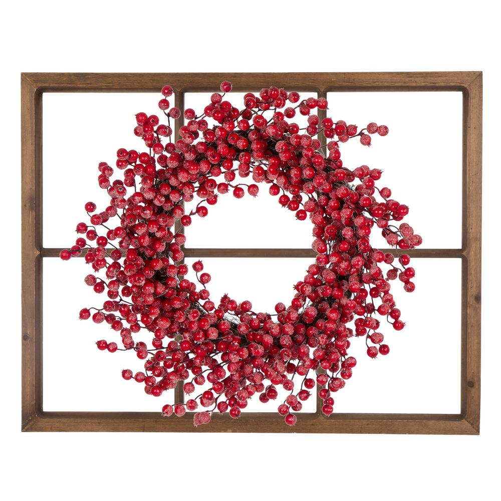 Glitzhome 22 In Dia Red Berry Wreath With Wooden Window Frame
