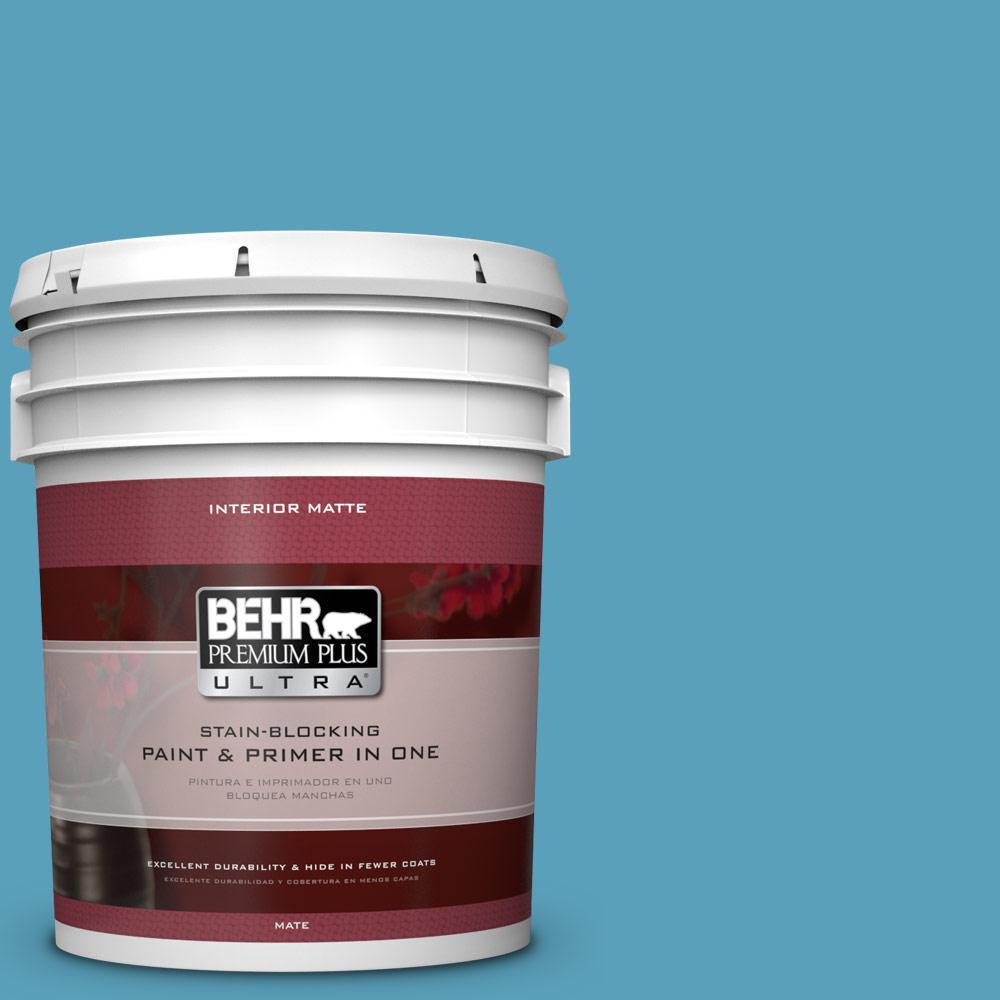 5 gal. #540D-5 Tropical Splash Matte Interior Paint and Primer in