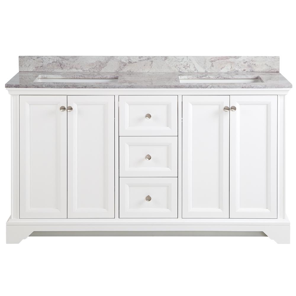 Home Decorators Collection Stratfield 61 in. W x 22 in. D Bathroom Vanity in White with Stone Effect Vanity Top in Winter Mist with White Sink