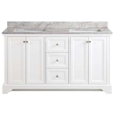 Stratfield 61 in. W x 22 in. D Bathroom Vanity in White with Stone Effect Vanity Top in Winter Mist with White Sink