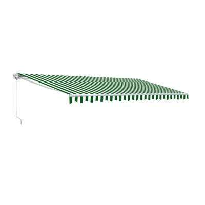 13 ft. Manual Patio Retractable Awning (120 in. Projection) in Green and White Stripes
