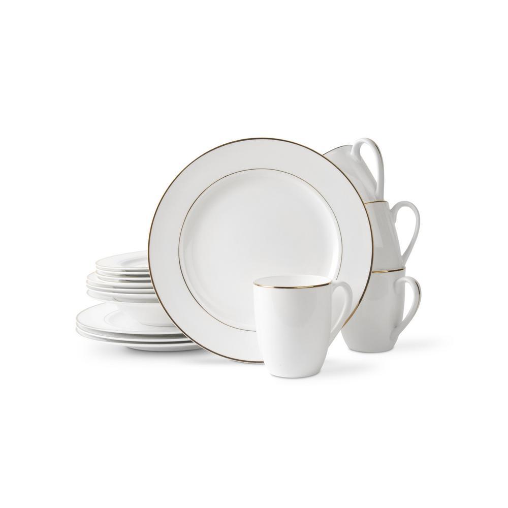 32-Piece Casual White Bone China Dinnerware Set (Set for 8)