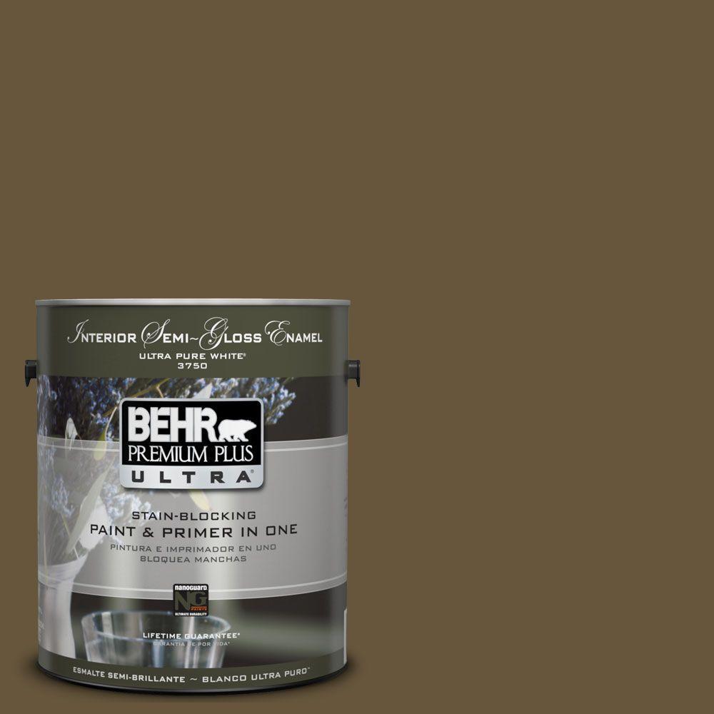 BEHR Premium Plus Ultra 1-gal. #UL180-1 Moss Stone Interior Semi-Gloss Enamel Paint
