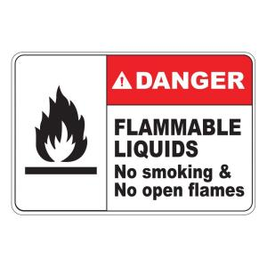 Click here to buy  Rectangular Plastic Danger Flammable Liquids Safety Sign.