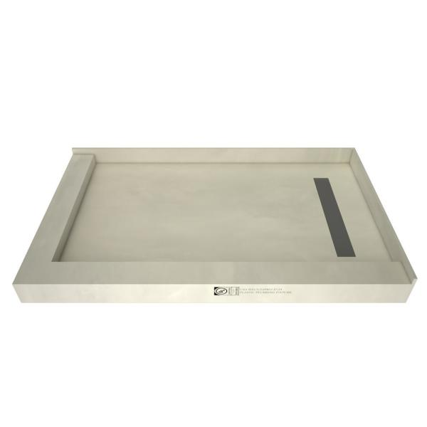 Redi Trench 42 in. x 48 in. Double Threshold Shower Base with Right Drain and Solid Brushed Nickel Trench Grate