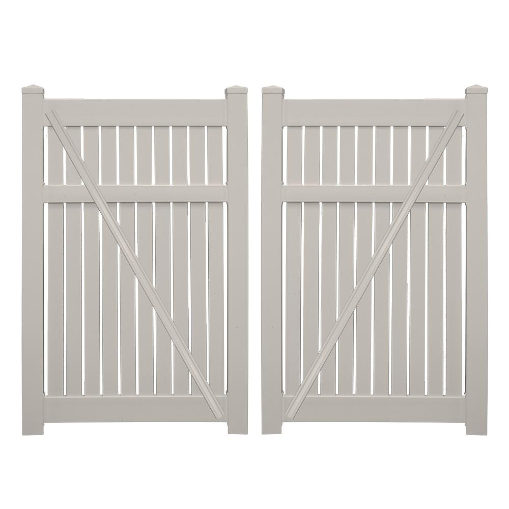 Huntington 7.6 ft. x 6 ft. Tan Vinyl Semi-Privacy Double Fence