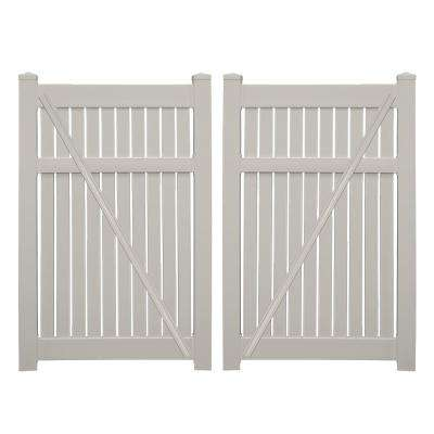 Huntington 7.6 ft. x 6 ft. Tan Vinyl Semi-Privacy Double Fence Gate Kit