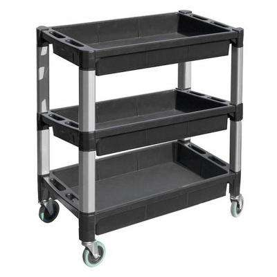 32 in. x 18 in. W x 41-1/4 in. H 3-Tray Service Utility Cart with Aluminum Legs and Wheels