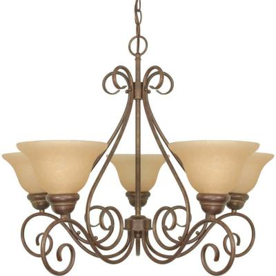 Adria 5-Light Bronze Chandelier with Champagne Linen Washed Glass