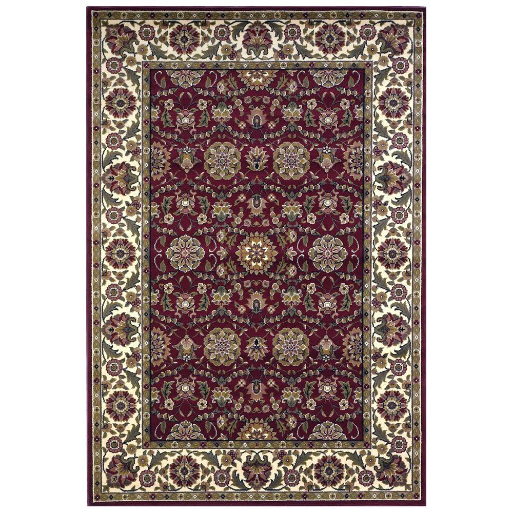 Kas Rugs Classic Kashan Red/Ivory 3 ft. 3 in. x 4 ft. 11 in. Area Rug