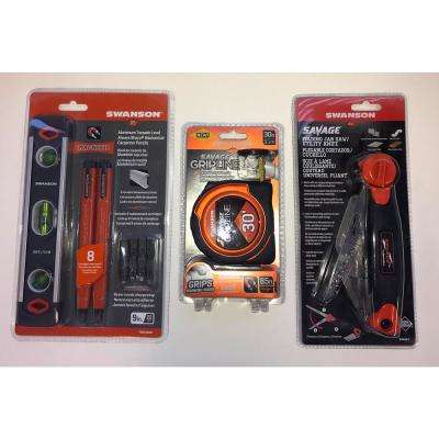 30 ft. Gripline Tape Measure, Utility Knife, Torpedo Level, Pencil Bundle (Value Pack)