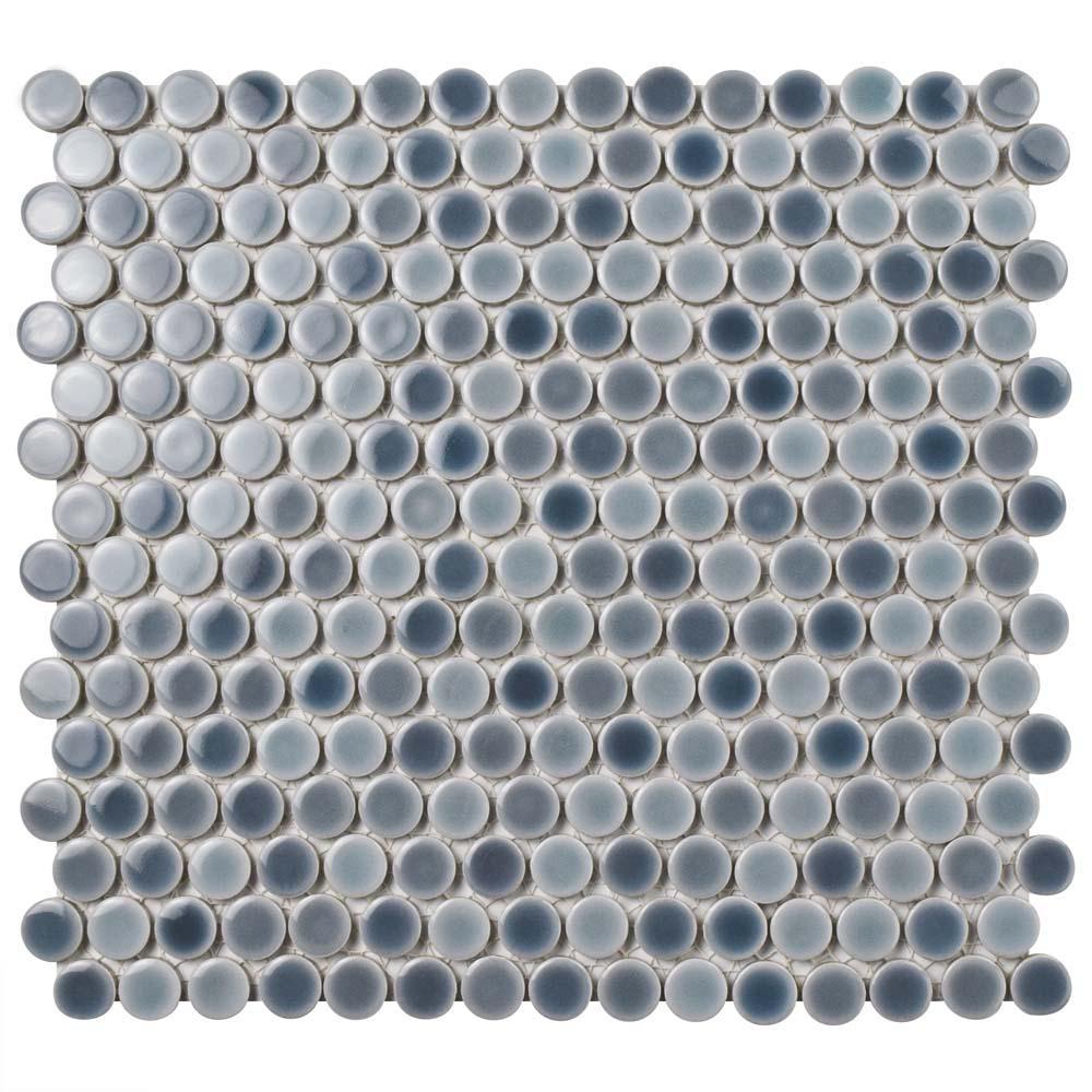 Merola Tile Hudson Penny Round Stillwater 12 in. x 12-5/8 in. x 5 mm Porcelain Mosaic Tile
