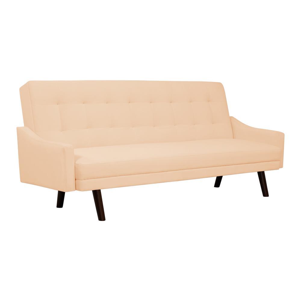 Handy Living Oakland Pale Nude Pink Velvet Click Clack Futon Sofa