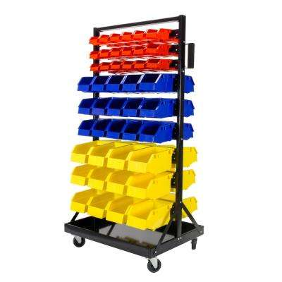 3-3/8 in. to 5-7/8 in. W Storage Bins in Yellow/Red and Blue (90-Piece) and 21 in. 9-Row Rack in Gloss Black Frame