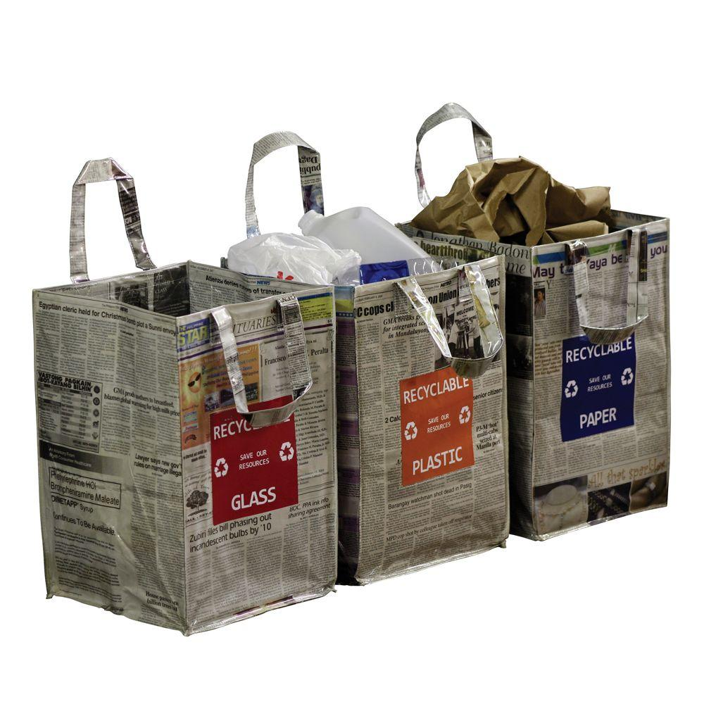 Home Decorators Collection 18 in. x 12 in. Newspaper Recycling Bag for Plastic