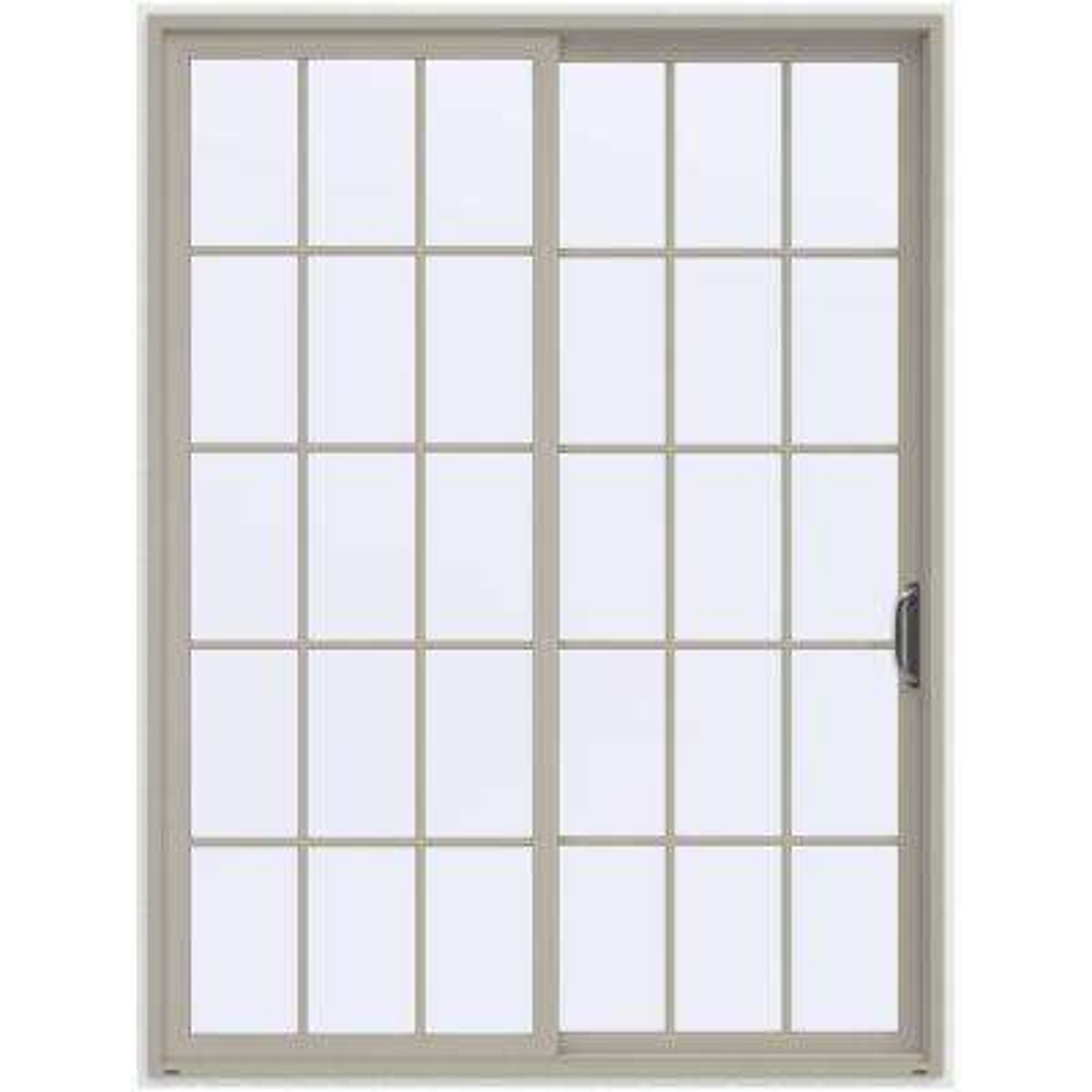 72 in. x 96 in. V-4500 Contemporary Desert Sand Vinyl Right-Hand 15 Lite Sliding Patio Door w/White Interior