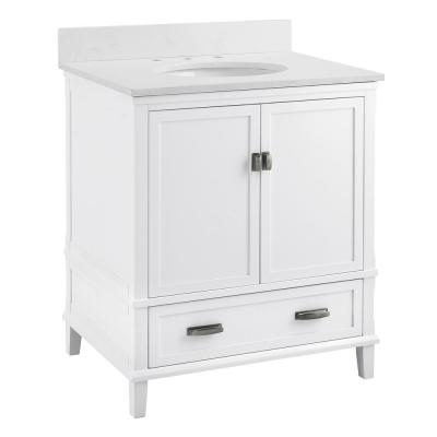 Irving 30 in. W Bath Vanity in White with Ocean Mist Engineered Stone Vanity Top with Pre-Installed Porcelain Basin
