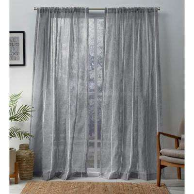 Santos 54 in. W x 108 in. L Sheer Rod Pocket Top Curtain Panel in Dove Gray (2 Panels)