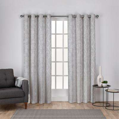 Lamont 54 in. W x 84 in. L Jacquard Grommet Top Curtain Panel in Dove Gray (2 Panels)