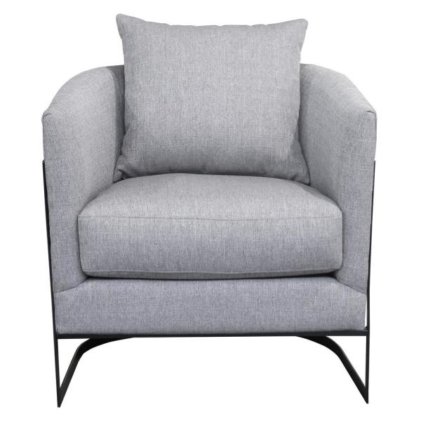 Accent Chairs.Armen Living Swan Contemporary Grey Fabric Upholstered Accent