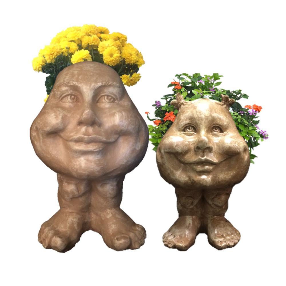 HOMESTYLES Stone Wash Daisy and Sister Suzy Q the Muggly Face Statue  Planter Pot (2