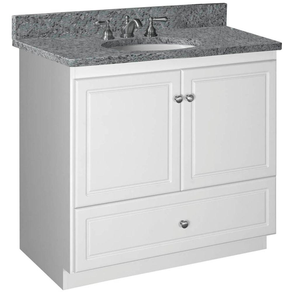 Simplicity by Strasser Ultraline 36 in. W x 21 in. D x 34.5 in. H Vanity with No Side Drawers Cabinet Only in Satin White