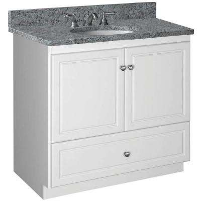 Ultraline 36 in. W x 21 in. D x 34.5 in. H Vanity with No Side Drawers Cabinet Only in Satin White