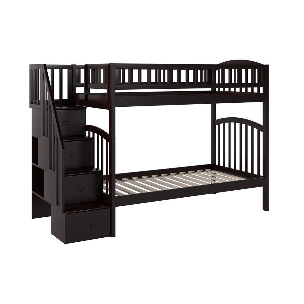 Atlantic Furniture Westbrook Espresso Twin Over Twin Staircase Bunk