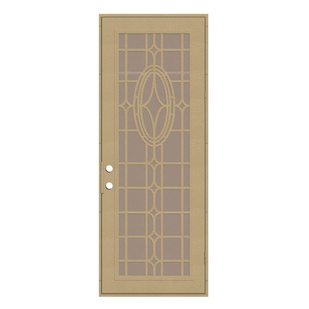 Unique Home Designs 36 in. x 96 in. Modern Cross Desert Sand Right-Hand Recessed Mount Security Door with Desert Sand Perforated Screen