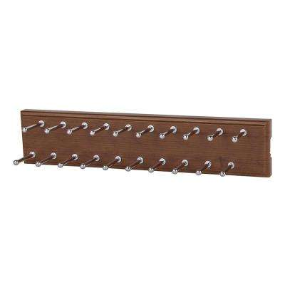 20-Hook Cognac Cherry Sliding Tie Rack