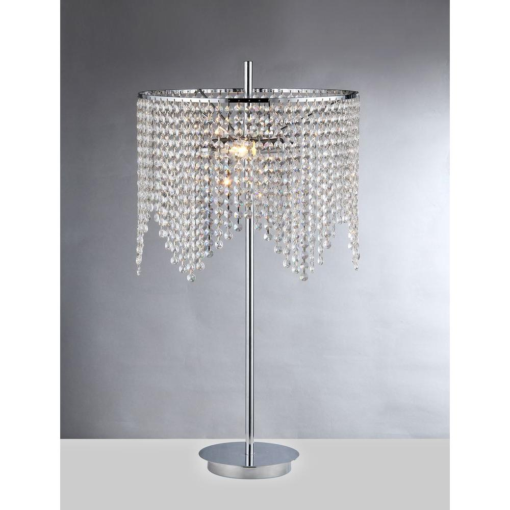 Warehouse of Tiffany Kylie 29 in. Chrome Indoor Table Lamp with Crystal Shade