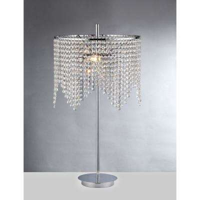 Kylie 29 in. Chrome Indoor Table Lamp with Crystal Shade