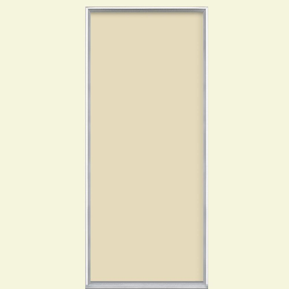 Masonite 36 in. x 80 in. Flush Right-Hand Inswing Golden Haystack Painted Steel Prehung Front Door No Brickmold in Vinyl Frame